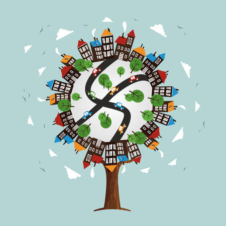 Tree with city landscape world. Illustration concept includes cars, residential houses, street and trees. vector.