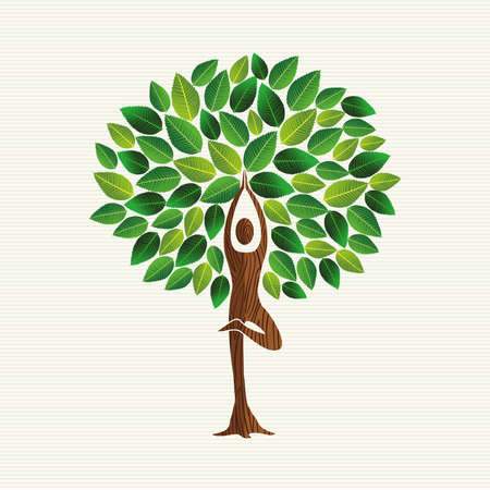 Yoga concept illustration. Woman meditating in tree pose with green leaves decoration doing relaxation exercise.vector.