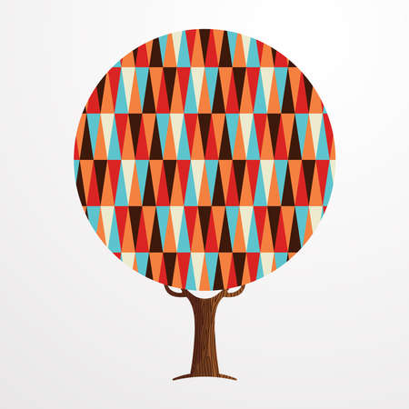 Tree made of colorful abstract shapes. Retro color geometric symbols for fun conceptual idea.vector.