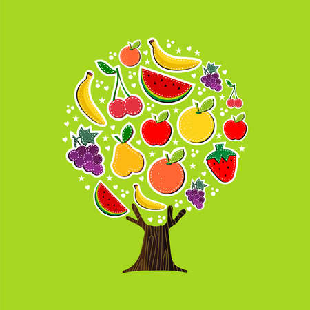 Summer fruit tree made of tropical food, fun summertime vacation concept. Includes watermelon, apple, orange and banana.  vector. Ilustração