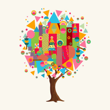 Tree made of colorful abstract shapes. Vibrant color geometric icons and symbols for fun conceptual idea.vector. Illustration