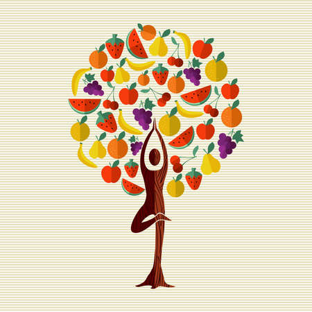 Tree made of fruit with woman doing yoga pose. Healthy eating and diet concept. Includes watermelon, apple, orange, banana. vector. Ilustração