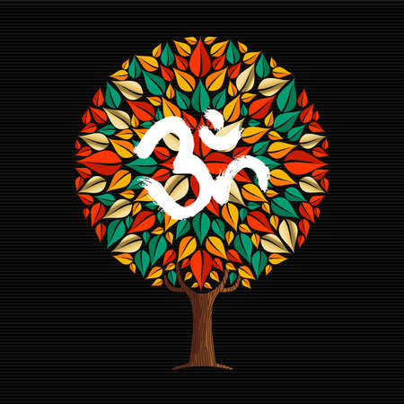 Yoga tree concept illustration. Om traditional calligraphy symbol, brush art style decoration. vector.
