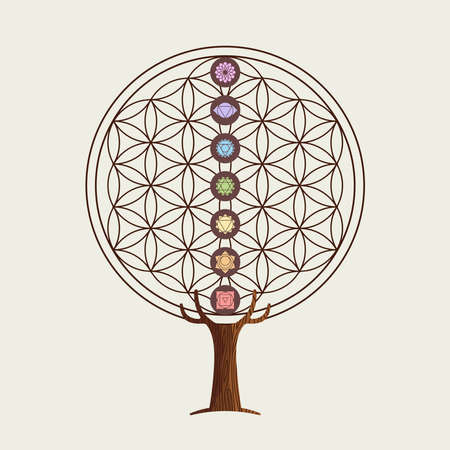 Yoga tree concept illustration. Flower of life with chakra decoration for relaxation and meditation.  vector. Stock Illustratie