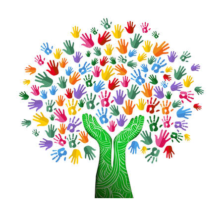 Tree with colorful human hands together in paper cut out style. Community team concept illustration for culture diversity, nature care or teamwork project. vector.