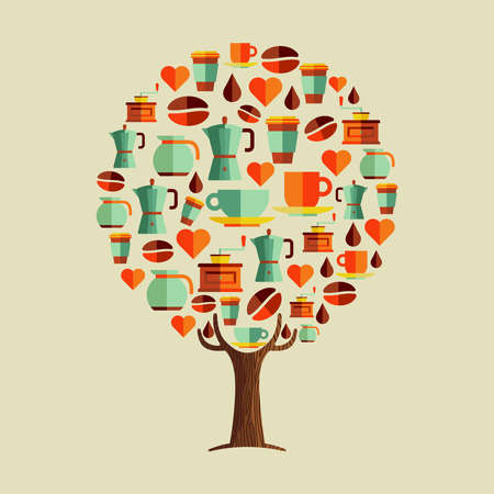 Tree made of coffee restaurant icon set. Illustration concept for cafe with cup, love symbol and drink equipment. vector.