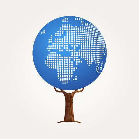 Tree made of Europe and Africa world map. Concept illustration about global communication, internet project or worldwide business. vector. Illustration
