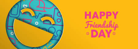 Friendship Day web banner illustration of paper cut happy face emoji with colorful party icons and text quote. EPS10 vector.