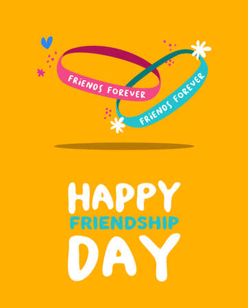 Happy Friendship Day greeting card for special holiday, friends forever bracelet with cute hand drawn decoration. EPS10 vector.