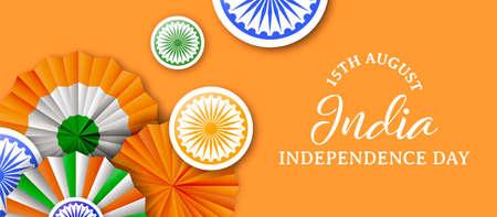 Illustrazione dell'insegna di web di festa dell'indipendenza dell'India. Distintivi tricolore tradizionali e decorazione a colori bandiera indiana con citazione tipografica. Eps10 vettore.