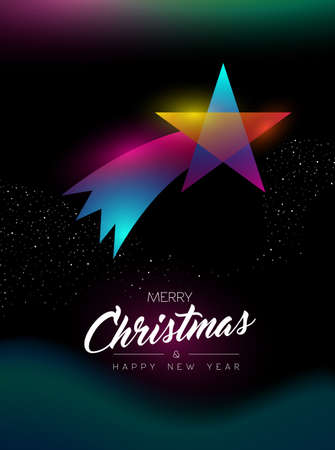 Merry Christmas and Happy New Year greeting card of colorful shooting star ornament, modern glow effect gradients. Holiday night illustration in futuristic neon style. EPS10 vector.
