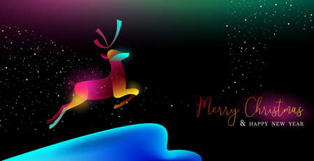 Merry Christmas and Happy New Year greeting card of colorful reindeer, modern neon color gradients. Holiday night illustration in futuristic glow style. EPS10 vector. Illustration