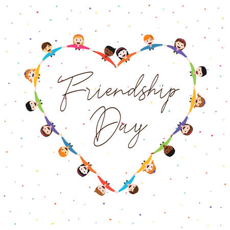 Happy Friendship Day greeting card illustration of diverse kid group in heart shape holding hands from top view angle. Friend love concept for special event celebration. EPS10 vector. Illustration