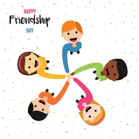 Ilustración de la tarjeta de felicitación del día de la amistad feliz del grupo diverso de niños tomados de la mano desde el ángulo de visión superior. Eps10 vector.