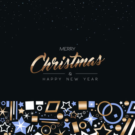 Merry Christmas and Happy New Year greeting card design with elegant copper color decoration icons on night sky star background. EPS10 vector. Illustration