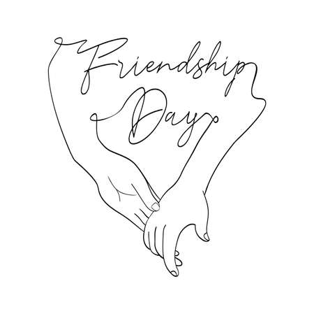 Happy Friendship Day greeting card illustration of friends holding hands together in continuous line hand drawn style with celebration text quote. EPS10 vector.