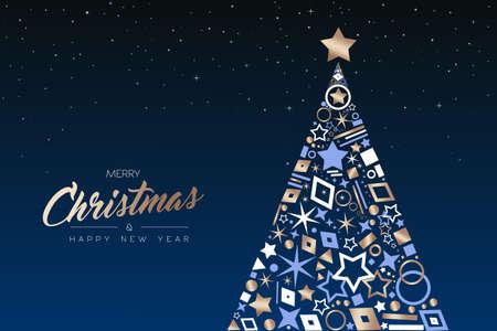 Prettige kerstdagen en gelukkig nieuwjaar wenskaart. Elegante kerstboom gemaakt van omtrek pictogram luxe decoratie, koperen kleur vakantie illustratie. EPS10-vector.