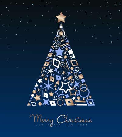 Illustrazione di lusso della cartolina d'auguri di buon Natale e Capodanno. Natale albero di pino fatto di eleganti icone di rame sullo sfondo del cielo notturno. Eps10 vettore.