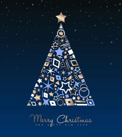 Merry Christmas and New Year luxury greeting card illustration. Xmas pine tree made of elegant copper icons on night sky background. EPS10 vector.