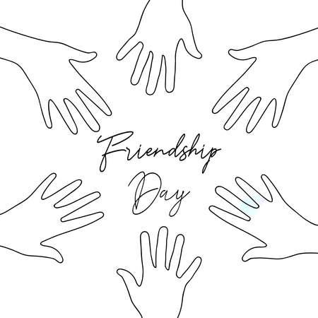 Felice giorno dell'amicizia illustrazione della cartolina d'auguri delle mani del gruppo di amici insieme in stile disegnato a mano con citazione del testo di celebrazione. Eps10 vettore.