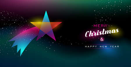 Merry Christmas and Happy New Year greeting card of colorful shooting star ornament, modern neon color gradients. Holiday night illustration in futuristic glow style. EPS10 vector.