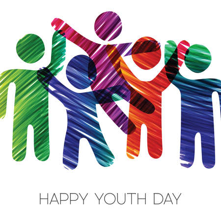 Happy Youth Day greeting card illustration. Fun teen group in diverse colors made of grunge hand drawn texture. EPS10 vector.