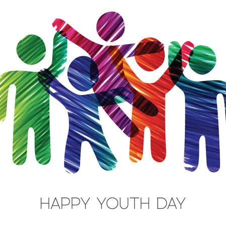 Ilustración de tarjeta de felicitación de feliz día de la juventud. Divertido grupo de adolescentes en diversos colores de textura grunge dibujado a mano. Eps10 vector.