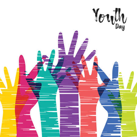 Illustration de carte de voeux Happy Youth Day, diverses mains de groupe dans un style coloré dessiné à la main. Équipe de jeunes avec citation de typographie. vecteur EPS10.