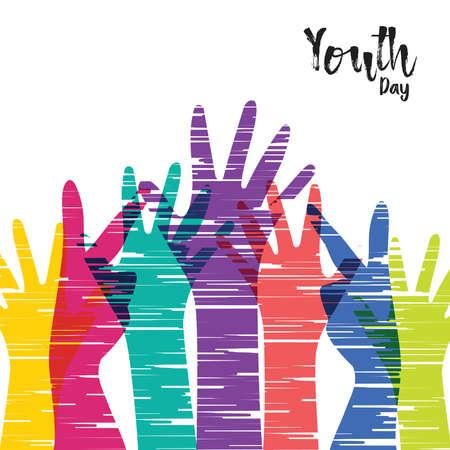 Ilustración de tarjeta de felicitación de feliz día de la juventud, manos de grupo diverso en estilo colorido dibujado a mano. Equipo de jóvenes con cita de tipografía. Eps10 vector.