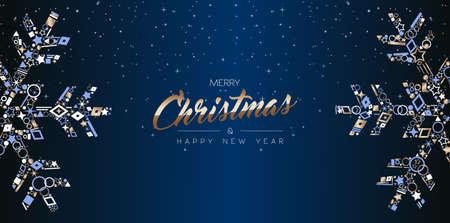 Buon Natale e Felice Anno Nuovo banner web design, elegante decorazione fiocco di neve fatta di icone di rame di lusso sullo sfondo del cielo notturno. Eps10 vettore. Vettoriali