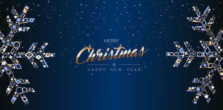 Frohe Weihnachten und ein glückliches neues Jahr Web-Banner-Design, elegante Schneeflockendekoration aus luxuriösen Kupfersymbolen auf Nachthimmelhintergrund. EPS10-Vektor. Vektorgrafik