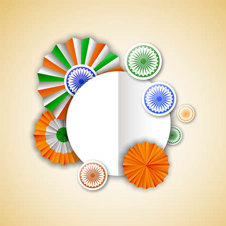 India Independence Day greeting card template. Indian tricolor badge decoration in 3d style with empty copy space sign for special event text quote. EPS10 vector. Иллюстрация