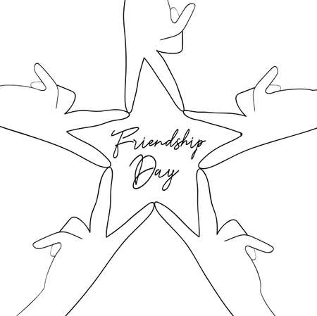 Happy Friendship Day greeting card illustration of friend group hands making star shape in hand drawn style with celebration text quote. EPS10 vector.