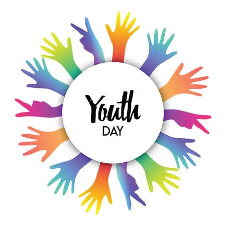 Feliz tarjeta de felicitación del día de la juventud de manos de diversos colores y cita de texto. Concepto colorido del grupo de jóvenes. Eps10 vector.