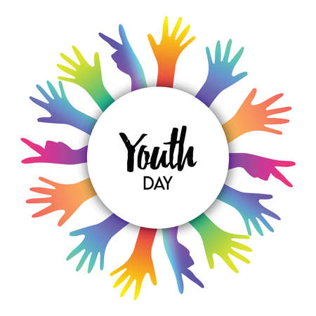 Happy Youth Day greeting card of diverse color hands and text quote. Colorful young people group concept. EPS10 vector.