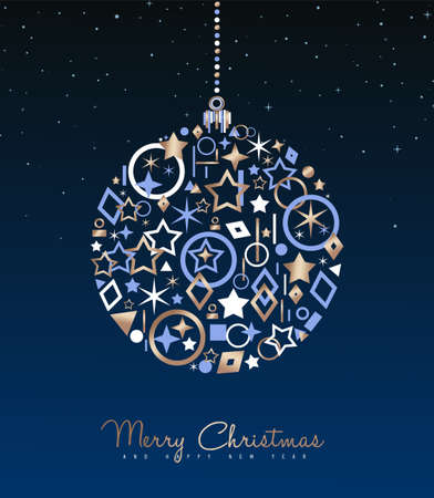 Merry Christmas and New Year luxury greeting card illustration. Xmas ball ornament made of elegant copper icons on night sky background. EPS10 vector.
