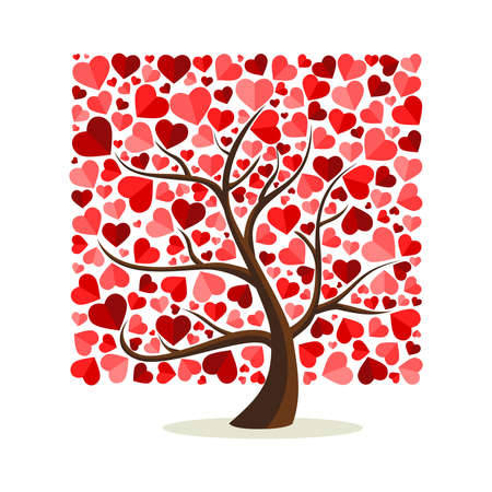 Love tree art with heart shape leaves. Concept illustration for valentines day or romantic greeting card. EPS10 vector.