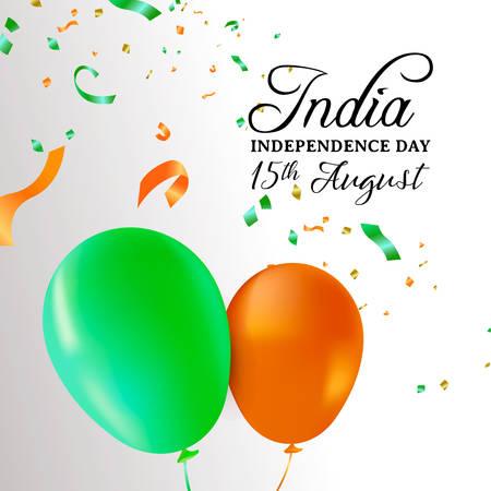Illustrazione della cartolina d'auguri di India Independence Day. Bandiera di palloncini colorati e coriandoli di festa per la speciale celebrazione indiana del 15 agosto.