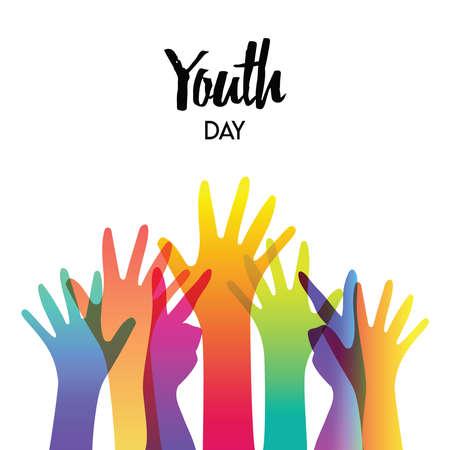 Carte de voeux joyeuse fête de la jeunesse de mains de couleurs diverses et citation de texte. Concept de groupe de jeunes colorés. vecteur EPS10. Vecteurs