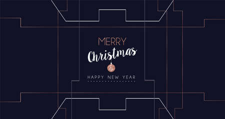 Merry Christmas and Happy New Year web banner with luxury xmas decoration in abstract geometric line style, copper color holiday illustration. EPS10 vector. Ilustrace