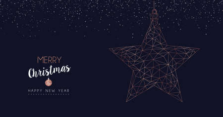 Merry Christmas and Happy New Year web banner with luxury star in abstract geometric line style, copper color holiday illustration. EPS10 vector.