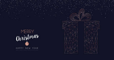 Merry Christmas and Happy New Year web banner with luxury xmas gift box in abstract geometric line style, copper color holiday illustration. EPS10 vector.