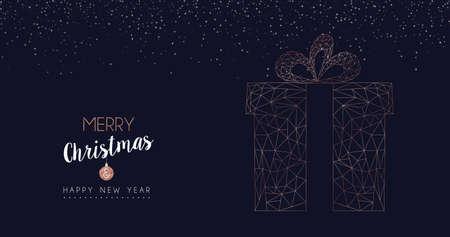 Wesołych Świąt i szczęśliwego nowego roku baner internetowy z luksusowym pudełkiem na prezenty świąteczne w stylu abstrakcyjnej linii geometrycznej, ilustracja wakacje kolor miedzi. Eps10 wektor.
