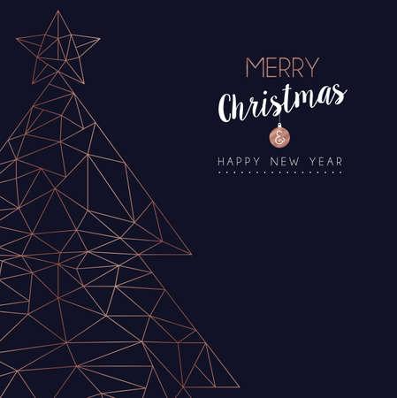 Carte de voeux joyeux Noël et bonne année avec pin de Noël de luxe dans un style de ligne géométrique abstrait, illustration de vacances de couleur cuivre. vecteur EPS10.