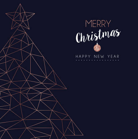 Merry Christmas and Happy New Year greeting card with luxury xmas pine tree in abstract geometric line style, copper color holiday illustration. EPS10 vector. 矢量图像