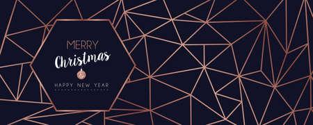 Banner de web de feliz Navidad y próspero año nuevo con decoración de Navidad de lujo en estilo de línea geométrica abstracta, Ilustración de vacaciones de color cobre. Eps10 vector.