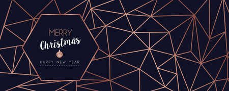 Merry Christmas and Happy New Year web banner with luxury xmas decoration in abstract geometric line style, copper color holiday illustration. EPS10 vector. Stock Illustratie