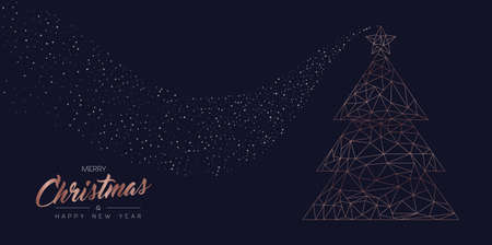 Merry Christmas and Happy New Year web banner with luxury xmas pine tree in abstract geometric line style, copper color holiday illustration. EPS10 vector.