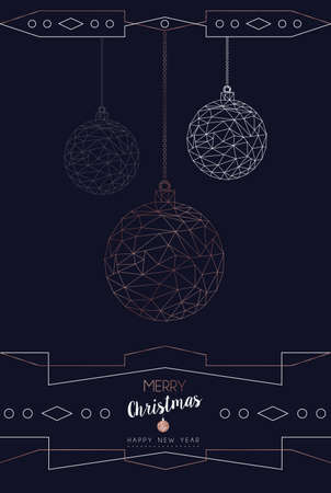 Merry Christmas and Happy New Year greeting card with luxury xmas ornament bauble in abstract geometric line style, copper color holiday poster illustration. EPS10 vector.