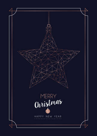 Merry Christmas and Happy New Year greeting card with luxury star ornament in abstract geometric line style, copper color holiday poster illustration. EPS10 vector.